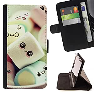 For Samsung Galaxy J3 - Cute Japanese Marshmallow Sweets /Leather Foilo Wallet Cover Case with Magnetic Closure/ - Super Marley Shop -
