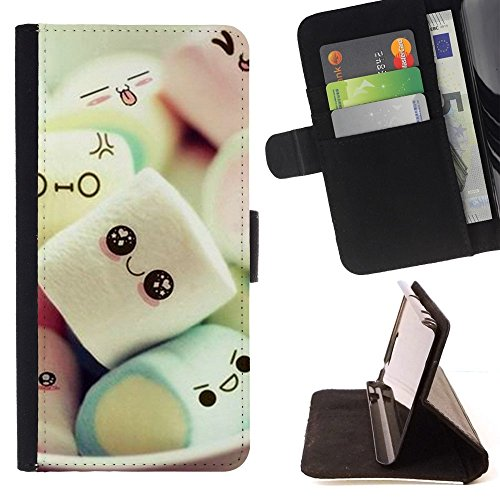 - Cute Japanese Marshmallow Sweets/ Personalized Design Custom Style PU Leather Case Wallet Flip Stand - Cao - For HUAWEI P8 Lite