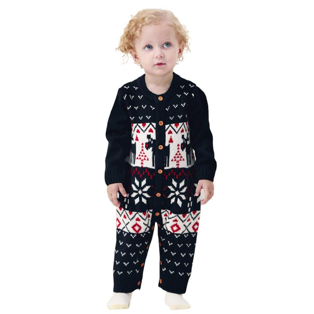 Kehen Infant Baby Ugly Christmas Sweater Toddler Girl Boy Reindeer Knitted Sweaters Pajamas Outfit