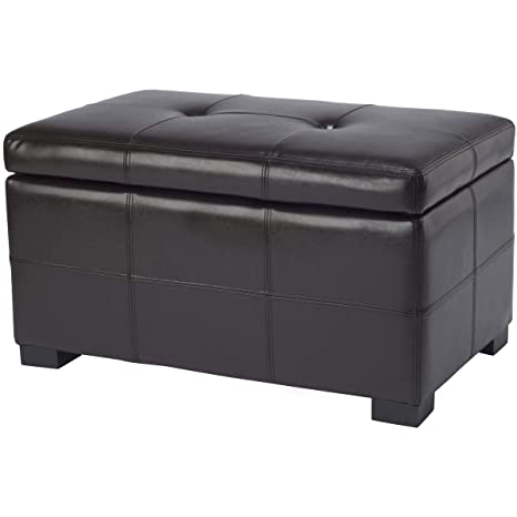 Brilliant Safavieh Hudson Collection Noho Tufted Brown Leather Small Storage Bench Ncnpc Chair Design For Home Ncnpcorg