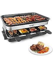 Raclette Calore Regolabile 8 Mini Padelle per 8 Persone 1500W, Nero