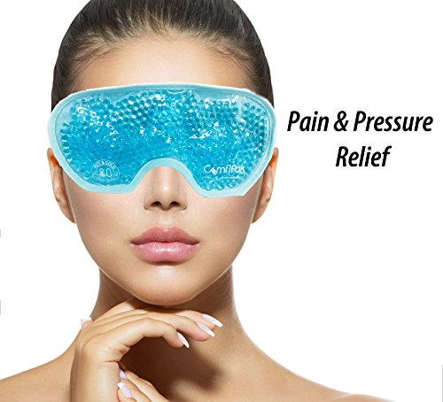 Beaded Gel Eye Mask Hot and Cold Therapy   Ice Mask For Migraine Headache, Stress, Pain Relief & Puffy Eyes by ComfiPak (Image #5)