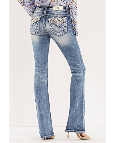 Miss Me Women's Blue Such A Gem Mid-Rise Jeans Boot Cut Blue 27W x 34L