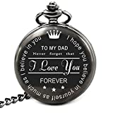Best Dad Gifts for Dad Fathers Day Birthday, Personalized Pocket Watch with Chain (to My Dad)