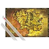 Poster + Hanger: The Lord Of The Rings Poster (36x24 inches) Classic Map Of Middle Earth And 1 Set Of Transparent 1art1® Poster Hangers
