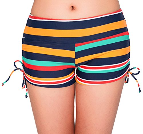 Short Stripe Fine (UNOW Women's Sporty Adjustable Boy Leg Wide Waistband Fully Lined Bikini Bottom Beach Briefs Tankinis Board Shorts(Colorful Stripes,S))