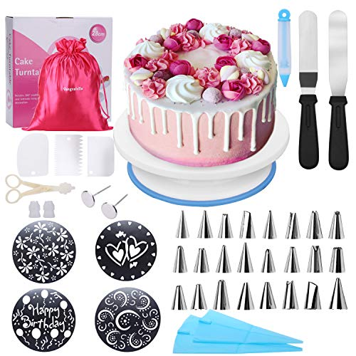 Stencil Decorating (Cake Decorating Supplies with Rotating Cake Turntable Stand for Beginners and Kids(Gift bag included),4 Cake Decorating Stencils,24 Stainless Icing Tips,2 Pastry Bags,3 Cake Scrapers,2 Icing Spatula)