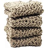 4 Tan Crochet Round Dishcloth Set Long Lasting 100% Cotton