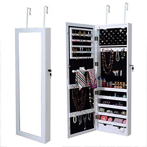 Elegant Armoire Wall Mount Mirrored Jewelry Cabinet With LED Lights Storing Your Jewelry Organized by Chic-Product