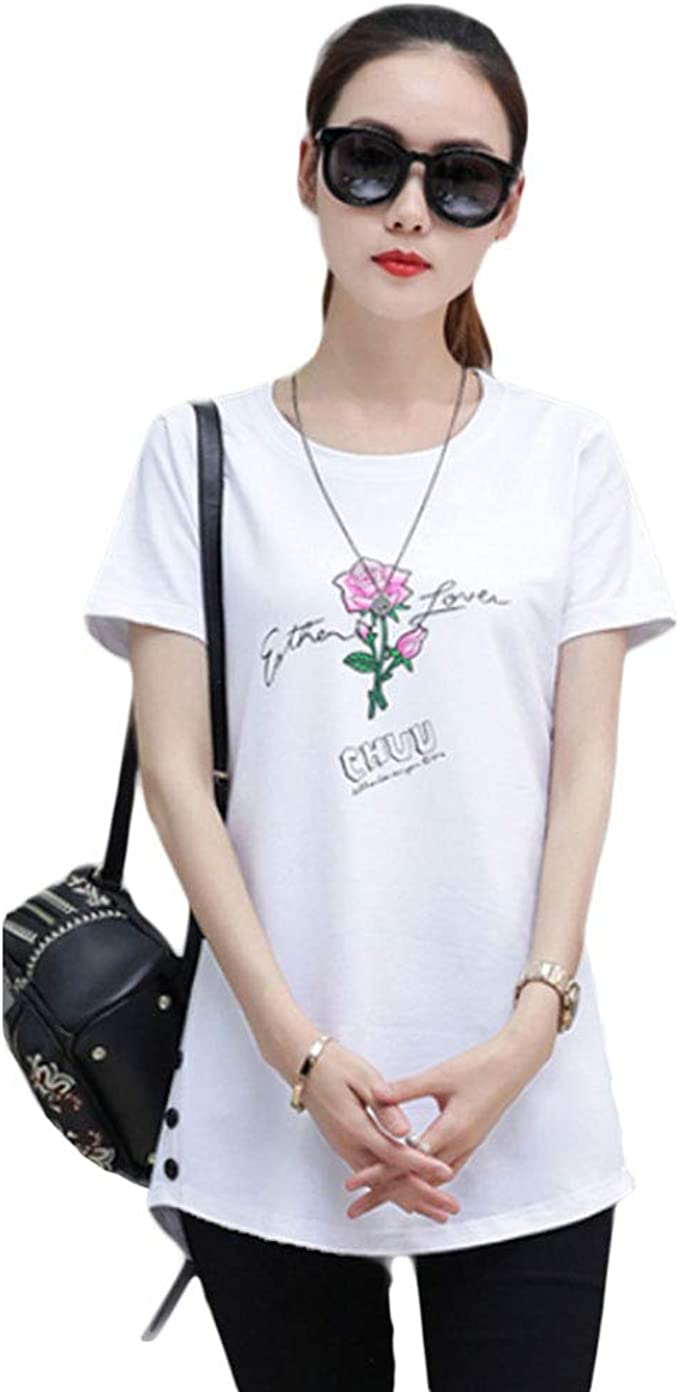Women SCOOP NECK Short Sleeve Cotton T-shirt Soft Stretch Long Tee Plus Size