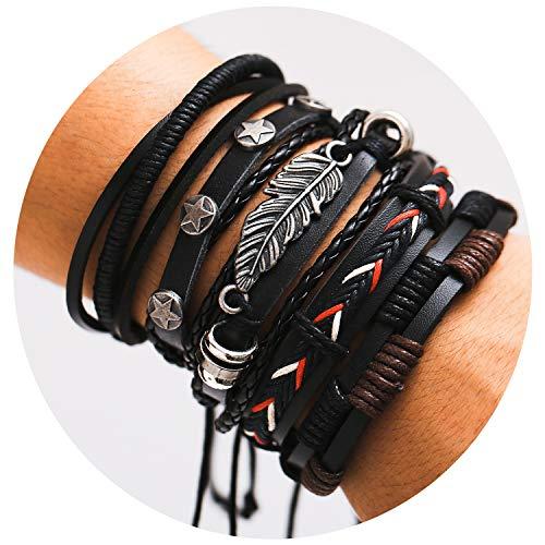 - 77Fine Womens Black Boho Bracelet Leather 5 Wrap Bracelet Adjustable Braided Bracelet Handmade Bead Cuff Punk Jewelry for Men