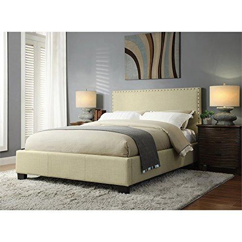 - Modus Furniture 3ZS1D712 Tavel Nail Head Platform Storage Bed, King, Tumbleweed