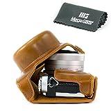 "MegaGear ""Ever Ready"" Protective Leather Camera Case, Bag for Panasonic Lumix DMC-GX850, GX800, DMC-GF9, DMC-GF8, DMC-GF7 with 12-32mm Lens (Light Brown)"