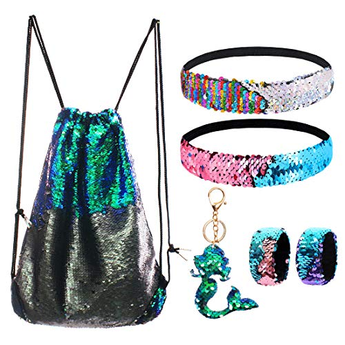 Mermaid Reversible Sequin Drawstring Backpack/Bag Green/Black for Kids Girls -