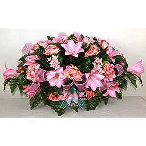 Beautiful XL Spring Pink Lilies Cemetery Saddle Flower Arrangement ... 5