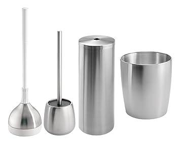 Mdesign set da 4 accessori bagno in acciaio inox elegante e