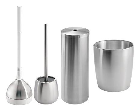Mdesign set da accessori bagno in acciaio inox elegante e