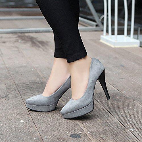 Mee Damen high Grau Shoes Nubukleder Pumps heels Plateau 7rq7z5w