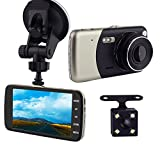 Car Camera Dual Lens, SQDeal 4.0' IPS 1920x1080P 140°Wide Angle Front and Rear Car DVR Dash Cam Dashboard Recorder with Night Vision, Motion Detection, Parking Monitor, G-sensor, Loop Recording (Black