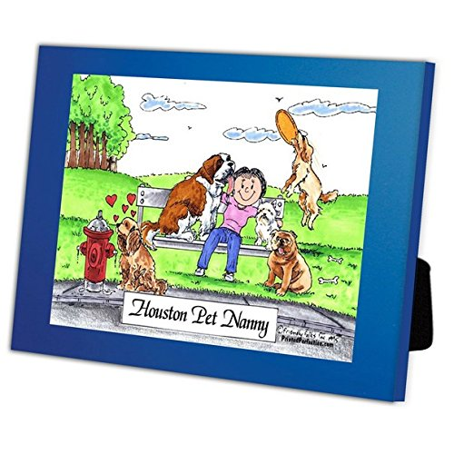 Personalized Friendly Folks Cartoon Caricature in a Color Block Frame Gift: Dog Lover - Female Great for animal rescue, pet sitter, dog walker by Printed Perfection (Image #3)
