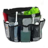 Aotuno Quick Dry Shower Tote Bag Hanging Toiletry and Bath Organizer with 8 Storage Compartments for Shampoo, Conditioner, Soap and Other Bathroom Accessories, Black