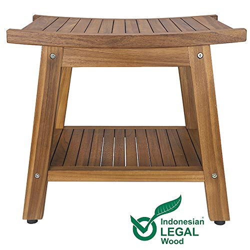 Teak Shower Bench, Teak Shower Stool, 20″ Sturdy Waterproof Stool with Shelf Foot Stool & Shower Shelf for Your Bathroom. Suitable for Both Indoor and Outdoor, Nander Stool, Assembly Required