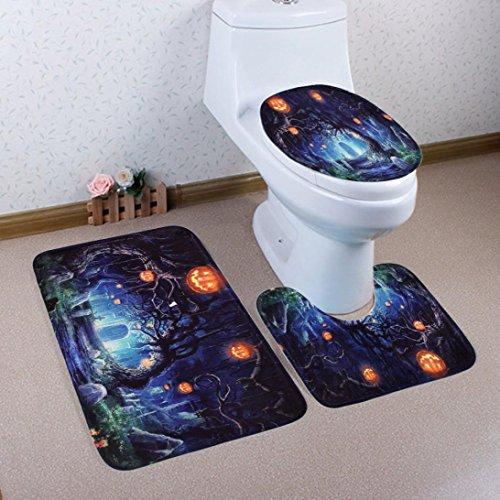 Halloween Rugs (Gillberry Happy Halloween 3pcs/set Bathroom Non-Slip Blue Ocean Style Pedestal Rug + Lid Toilet Cover + Bath Mat (F))