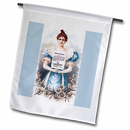 3dRose BLN Vintage Trade Cards Ad Art Reproductions - Edelweiss Beer With Victorian Lady in Blue with White Flowers - 18 x 27 inch Garden Flag (fl_180198_2)