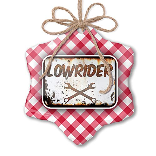 (NEONBLOND Christmas Ornament Rusty Old Look car Lowrider Red Plaid)