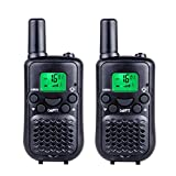 DuaFire Durable Kids Walkie Talkies, 2 Way Radio for Kids Playing Games, Back-lit LCD Screen and Strengthen VOX Free Your Hands (Pair Black)