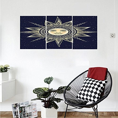 Liguo88 Custom canvas Psychedelic Vintage Occult Sun with Face Boho Chic oteric Solar Spiritual Display Wall Hanging for Bedroom Living Room Yellow Dark Blue by Liguo88