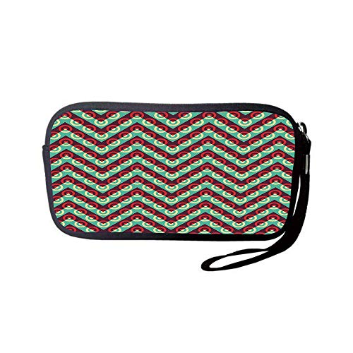 iPrint Neoprene Wristlet Wallet Bag,Coin Pouch,Geometric Circle Decor,50s Pop Art Triangular Stripes and Spiral Hoops Retro Poster Print,Maroon Teal,for Women and Kids