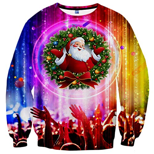 Neemanndy Unisex 3D Crew Neck Christmas Sweatshirts Long Sleeve Santa Design Colorful Sweater Shirts, Medium]()