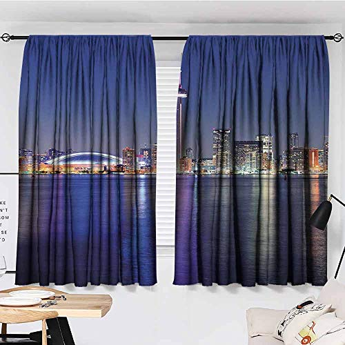 Paddy Benedict Sheer Curtains,W63 x L72,Decor Collection Thermal/Room Darkening Window Curtains Blue,Canada Toronto Sunset Over The Lake Panorama Urban City Skyline with Night Lights,Blue Pink Peach (Toronto Sheer Curtains)