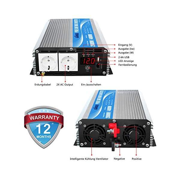 51uYP92JKCL 2000W Spannungswandler 12V auf 230V/240V Reiner Sinus Wechselrichter Konverter mit AC-Steckdosen mit Fernbedienung für…