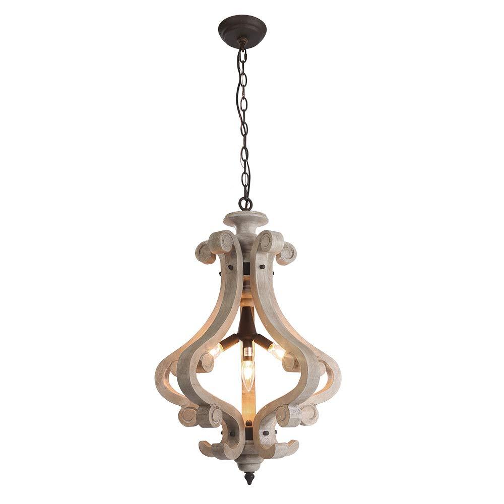 LNC 4-light Cottage木製シャンデリア素朴なペンダント照明 A03370 B07C6G2ZM8 A03370