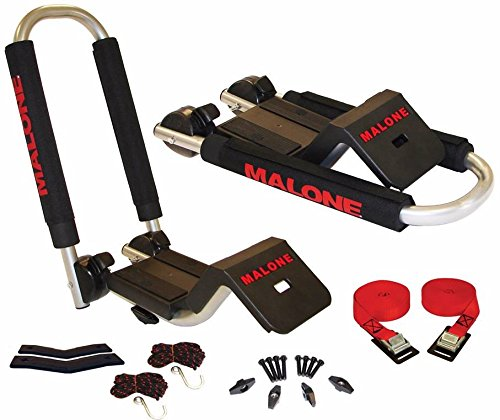 Malone Downloader Folding J-Style Universal Car Rack Kayak Carrier with Bow and Stern Lines Malone Racks MPG114MD
