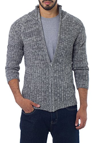 NOVICA Gray and White Men's Alpaca Wool Zip Cardigan Sweater, 'Cloudfall'