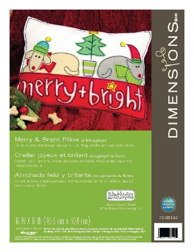 Dimensions Crafts Felt Applique Pillow, Merry and Bright
