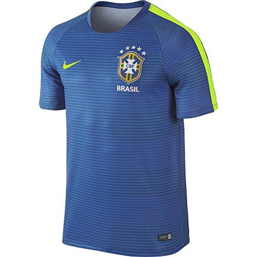 Men's Nike Brasil CBF Pre-Match Flash II Soccer Short-Sleeve Shirt Royal/Volt Size Large