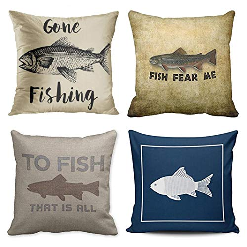 bb76ceb504be Emvency Set of 4 Throw Pillow Covers Fish Fisherman Gone Fishing Rustic  Vintage Funny Fear Me Navy Decorative Pillow Cases Home Decor Square 18x18  Inches ...