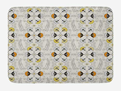 TAQATS Grey and Yellow Bath Mat, Ethnic Paisley Style Flowers Ivy Swilrs Leaves Image, Plush Bathroom Decor Mat with Non Slip Backing, 23.6 W X 15.7 W Inches, Marigold Black and Pale Grey