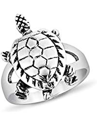 925 Sterling Silver Vintage 3-D Sea Turtle Band Ring Unisex Jewelry Size 6 7 8 - Nickel Free