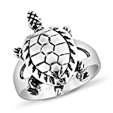 925 Sterling Silver Vintage 3-D Sea Turtle Band Ring Unisex Jewelry Size 7