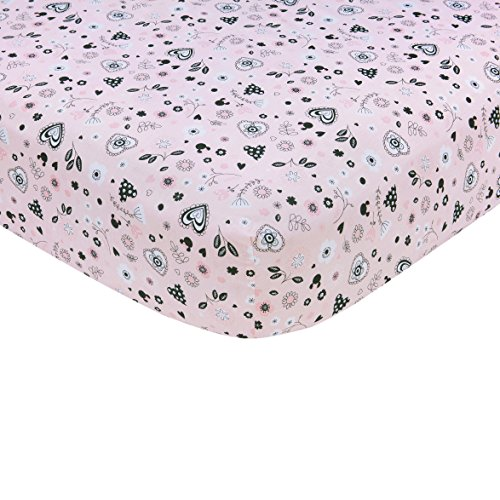 Disney Minnie Mouse Hello Gorgeous Crib Sheet, Pink/Black/White