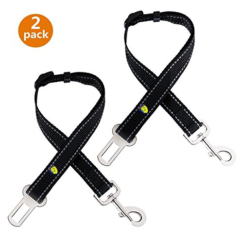 Dog Seatbelt , [2 Pack] Awakelion Adjustable (15-28 inch) Pet Vehicle Seat Belt Safety Travel Harness Fit For All Vehicles