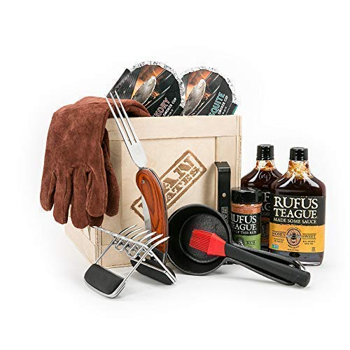 Man Crates Pit Master Barbecue Crate The Ultimate BBQ Gift for Men Includes Meat Claws, Wood Chips, Rubs, Sauces, Leather Gloves Ships in A Sealed Wooden Crate with A Laser-Etched Crowbar