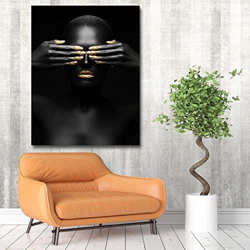 N / A Pintura sin Marco Modelo Moderno Negro Femenino Arte de la Pared poster e Imagen decoracion del hogar Sala de estarZGQ7953 40x50cm