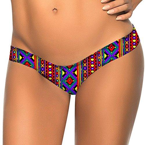 Covermason Mujer Bikini Playa Trajes de Baño Multicolor Impresión Tangas M