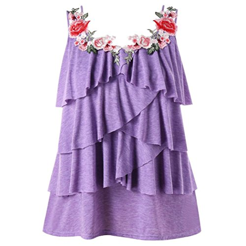 Women Blouse, Limsea Fashion Sleeveless Plus Size Embroidery Layered Ruffle Tank Top Vest Camis -